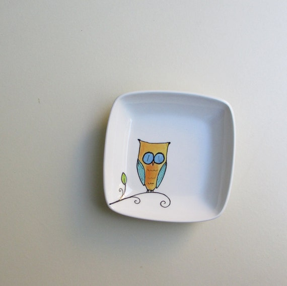 Orange and blue ceramic owl square tray, functional art, soap dish, woodland home kitchen decor