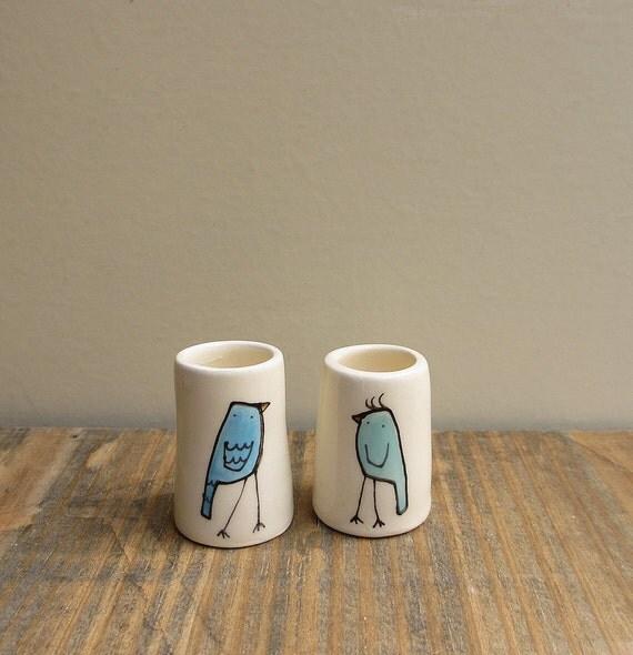 Two mini blue bird ceramic bud vases, spring garden easter gift, Mother's day, for her under 25