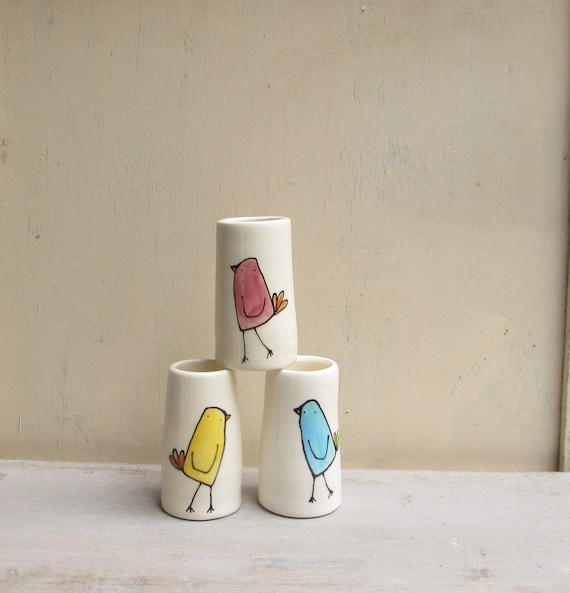 RESERVED FOR GERRI / made to order / Three ceramic bird bud vases, blue, yellow, pink bird spring gift for the gardener, mother's day