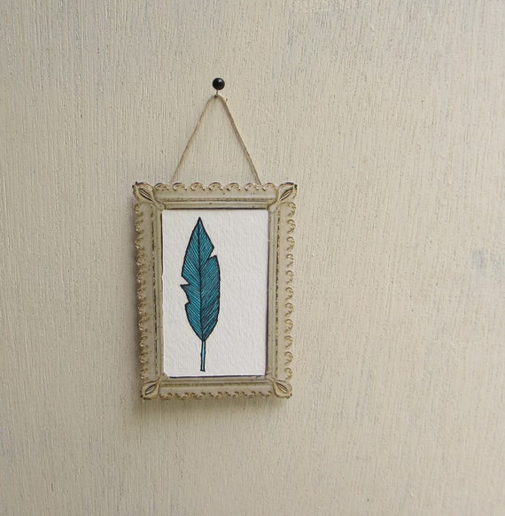 Small Blue Bird Feather Wall Art Watercolor Painting Woodland