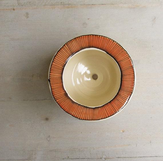 Orange stripe ceramic planter pot, succulent or cactus spring garden pot for the gardener, gift for mom, dads and grads