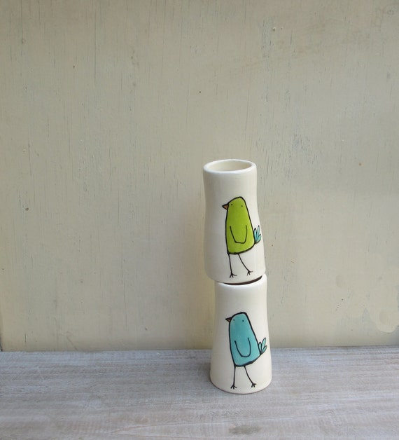 Two bird vases, blue and green garden bud vase, mother's day gift