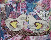 Love Birds - 8x8 FINE ART PRINT by Mixed Media Artist Rebecca Vavic