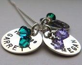 Three Disc Mother's Necklace - hand stamped and personalized with Swarovski crystals