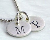 Itty Bitty Duo hand stamped and personalized sterling silver necklace -- two discs