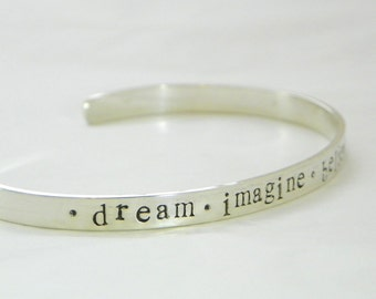 Thick personalized sterling silver cuff bracelet