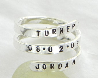 Hand stamped and personalized sterling silver spiral ring