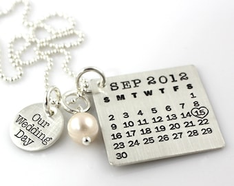Our Wedding Day Mark Your Calendar Necklace hand stamped and personalized sterling silver necklace with pearl
