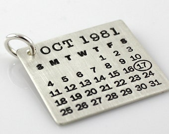 Calendar Charm - Mark Your Calendar Charm - hand stamped and personalized sterling silver charm