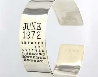 Calendar Bracelet - Mark Your Calendar Cuff - hand stamped and personalized sterling silver cuff bracelet