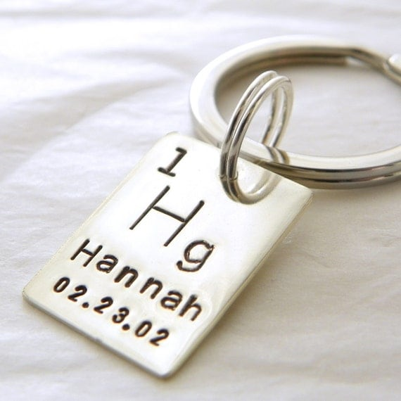 Personalized Periodic Table Element hand stamped sterling silver keychain - Geekery
