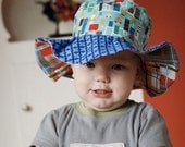 SALE - Wide brim sun hat for baby boys, floppy brim, blue with cars, in stock and ready to ship