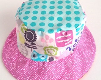Toddler sun protective hat, bucket sun hat with flowers and owls, reversible