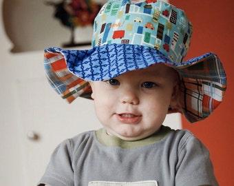 SALE - Wide brim sun hat for baby boys, floppy brim, blue with cars