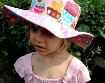 SALE - Ready to ship Baby summer hat for girls, floppy sun hat with wide brim, owls and cupcakes, pink, turquoise and red