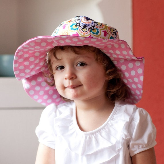 Summer Sun Hat for Babies, Reversible Cotton, with Flowers and Polka Dots