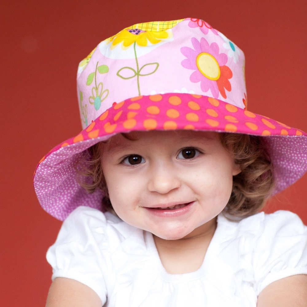 Bucket hat for toddler girls cute sun hat with flowers and