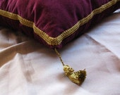 Royal Pillow , Burgundy Pillow with Gold Trim and Tassels