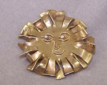 Sun Pin Sterling Silver with Gold Plate