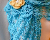 Summer Shawl Crochet Pattern - Light and Airy Openwork Pattern - Fast Shell Pattern - Beautiful - with Flower Pin
