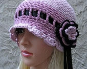Ladies Hat - Girly Pink and Black Cloche with Sweet Ribbon and Flower - Soft and Cool for Summer - 100% Bamboo - Ready to Ship