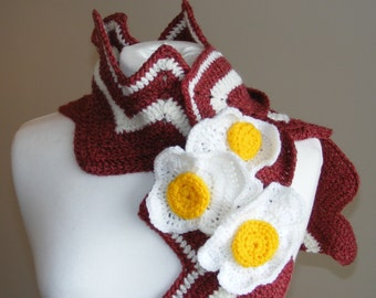 Bacon and Eggs Scarf by TheHappyCrocheter - Warm Large and Long Cute Food Scarf - Made to Order