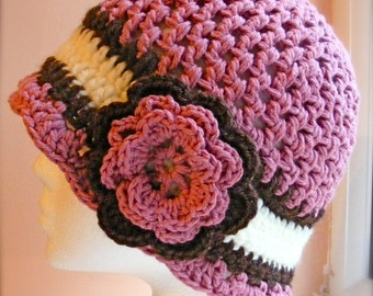 Ladies Cloche Hat Crochet Pattern - Hat with Flower - Ladies Medium - Caron Simply Soft - Quick and Easy