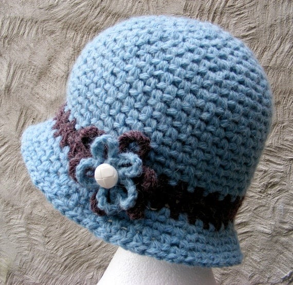 Blue Crochet Cloche Hat with Flower - Womans Large Warm Winter Hat in Ice Blue with Brown Stripe and Whimsical Flower