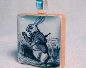 Recycled Scrabble Tile Pendant, The White Rabbit
