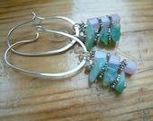 blue peruvian opal lilac jade oval hoop silver chandelier earrings