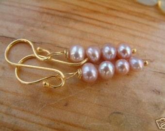 lilac pink gold vermeil  pearl earrings