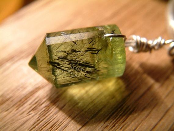 Rare tourmalated green watermelon tourmaline crystal Thai Karen silver necklace hallmarked 999