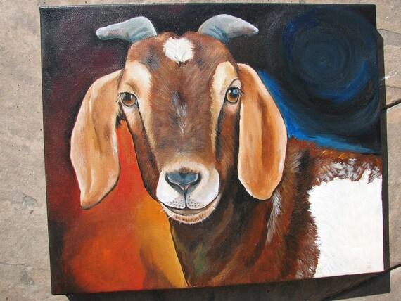 Original Fine Art Goat painting by Laura Carey