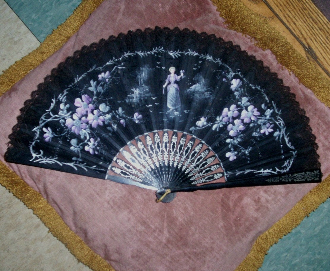 Antique Hand Fan Victorian Hand Painted Organdy Carved Wood