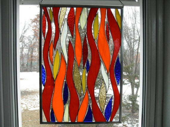 CLEARANCE - Fire and Flame - Stained Glass Panel