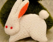 Cottontail Rabbit Brooch of Chirimen Fabric