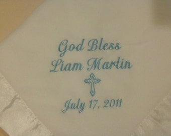 Personalized Christening Blanket Embroidered Crib Baptism Gift