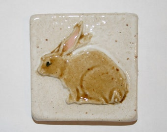 "Handmade ceramic 3x3"" rabbit tile"