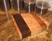 Maple and walnut end-grain cutting board