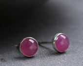 Rose cut pink sapphire and sterling silver bezel set stud earrings