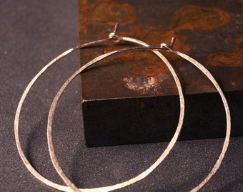 Sterling silver large hammered hoops   1 3/4 inches