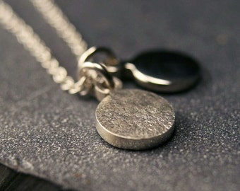 Sterling silver hammered and polished disc charm pendant