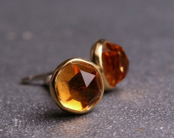 5mm citrine bezel set earrings 18 karat yellow gold and sterling silver