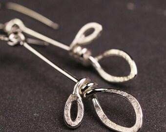 Sterling silver double leaf dangle hook earrings
