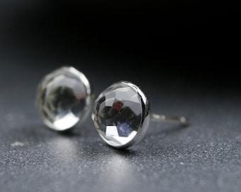 Rose cut white topaz and sterling silver bezel set earrings 6mm