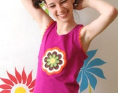 Girls handmade tank top VINTAGE FLOWERS, size 8 and 10 years