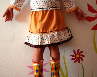 OOAK NOVEMBER RAIN girls handmade skirt in mustard colour with umbrellas and brown lace , custom made in any size