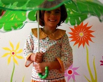 NOVEMBER RAIN Girl handmade shirt with pan collar and long sleeves , custom made in any size