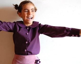 Girls cotton handmade shirt with pan collar PURPLE HAZE, any size