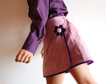 PURPLE HAZE Girls handmade corduroy skirt, toddler corduroy wrap skirt, girl mauve winter skirt, girls retro skirt